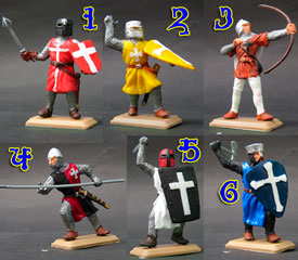 Crusader Knights in colured tunics set
