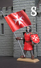 Hospitaller Knight in red tunic with flag