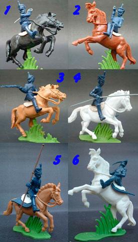 Unpainted Napoleonic Cavalry in blue Plastic